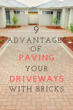 It's time to say goodbye to concrete, now pave your driveway with bricks, it will give a new fashionable look to your home outside and will definitely add value. Brick Paving, Bricks, Concrete, Garage Doors, Outdoor Decor, Blog, Brick Pavers, Brick, Blogging