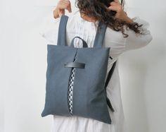 Convertible lightweight backpack Messenger bag Gray waterproof canvas Minimal stylish bag Handmade women bag Chic city bag Gift for her