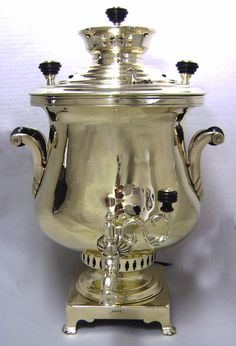 Rare Antique Imperial Russian Samovars. Rare and beautiful early Krater shaped Samovar. c. mid 1800s.   The Samovar was first introduced to Russia from Mongolia in the mid 1700s. With the introduction of tea, Samovars became popular as a source of accessible hot water and for warmth from the bitter Russian winters. Most importantly, Samovars were the center of cultural life.