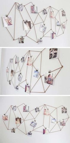 DIY Dorm Room Decor Ideas - Geometric Photo Display - Cheap DIY Dorm Decor Projects for College Rooms - Cool Crafts, Wall Art, Easy Organization for Girls - Fun DYI Tutorials for Teens and College Students http://diyprojectsforteens.com/diy-dorm-room-decor