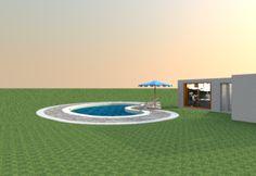 piscina interragta al tramonto forma fagiolo