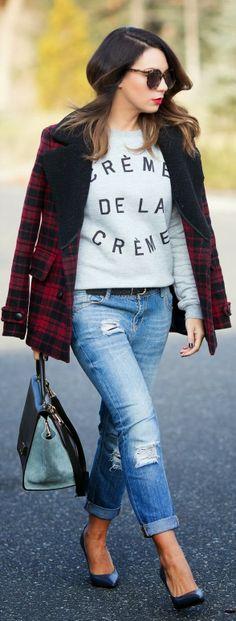 Plaid Coat, Boyfriend jeans, High Heels