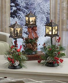 LED Holiday Lanterns with Floral Accents Christmas Home Decoration Reindeer Snow Outdoor Christmas Decorations, Christmas Centerpieces, Rustic Christmas, Christmas Home, Tree Decorations, Vintage Christmas, Christmas Wreaths, Christmas Crafts, Christmas Ornaments