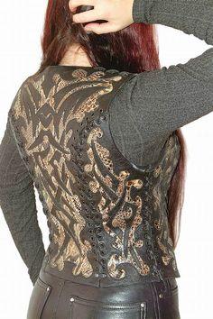 вязание с кожей крючком: 20 тыс изображений найдено в Яндекс.Картинках Leather And Lace, Leather Jacket, Irish Crochet, Leather Craft, Vest, Sewing, Knitting, My Style, Womens Fashion
