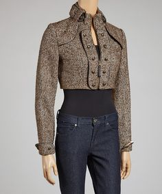 Take a look at this Escio Brown Herringbone Wool-Blend Bolero on zulily today!