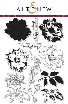 """ALTENEW: Beautiful Day (6""""x 8"""" Clear Photopolymer Stamp Set) This package contains Beautiful Day: twelve image and two sentiment individual stamps. *FREE SHIPPING ON THIS ITEM*"""