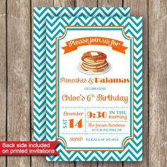 Pajamas and Pancakes Party Invitations Printed or by PartiesR4Fun, $12.00