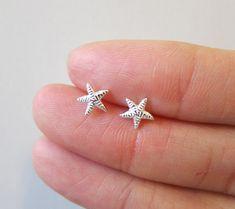 6f5277c3d Tiny Sterling Silver Starfish Stud Earrings, Dainty Earring,Minimalist  Jewelry Emoji Earrings, Cute
