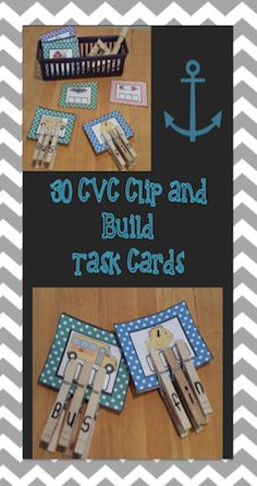 http://www.teacherspayteachers.com/Product/CVC-clip-and-build-Task-Cards-1316621 Looking for a hands-on phonics activity for center work or independent practice? his set included 30 cards focusing on 5 short vowel sounds (a,e,i,o,u). Each vowel has 6 corresponding cards and an answer key. I even color coded the cards by vowel sound for easy organization and cleanup.