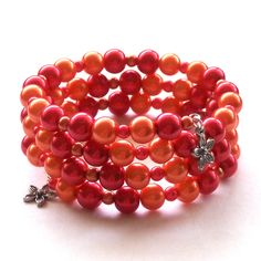 Red and Orange Glass Pearl Memory Wire Bracelet
