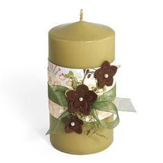 Transform your candles into something much more stylish. All it takes is a few decorative touches and you! Sizzix Textured Impressions make creating for the home a snap! Craft Tutorials, Craft Projects, Craft Ideas, Emboss, Pillar Candles, Candle Holders, Crafty, Texture, Flowers