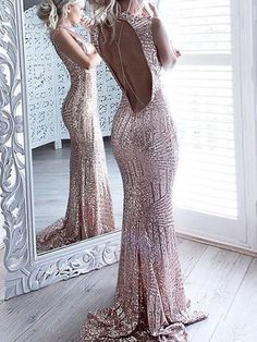 Sexy Open Back Rose Gold Sequin Long Evening Prom Dresses, 17485