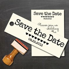 Save the Date Custom Stamp with hearts and date for by Designkandy, $21.00