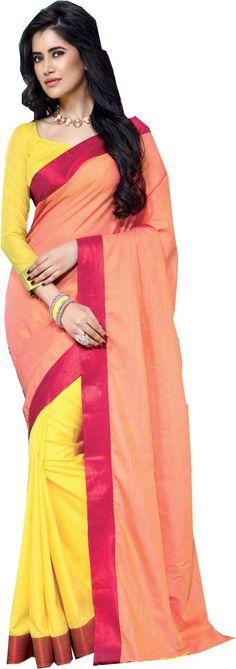 Yellow Causal Wear Saree Designer Work Orange Pallu Cotton Sari #SareeStudio #SareeSari #CausalWear