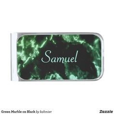 Green Marble on Black Silver Finish Money Clip