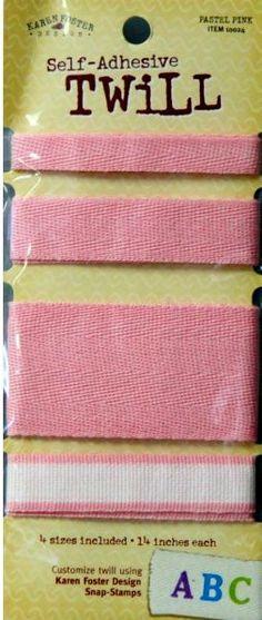Karen Foster Design Self-Adhesive Pastel Pink Twill Ribbon is available at Scrapbookfare.com.