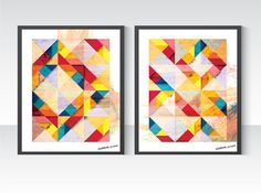 Tangram Geometric Art Duo, 2 Abstract Posters 30 x 40cm, Double Wall Decor Illustration. Mid Century Modern, Scandinavian design inspired on Etsy, $50.53 AUD