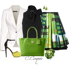 "Lime Green and Black outfit ""In Green!"" by ccroquer on Polyvore"