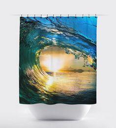 Ocean wave curtain, Bed and Bath, shower curtains, bathroom curtain, home decor, bathroom decor, surfing,sunset curtains, ocean curtains. by BigWaveClothingCo on Etsy