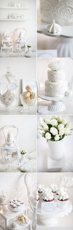 White winter wedding (#vintage weddings, #white weddings, #winter weddings)