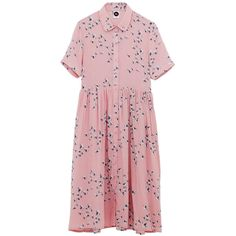 Shirt Dress in Floral Print (3.335 RUB) ❤ liked on Polyvore featuring dresses, shirt dress, flower pattern dress, floral day dress, floral shirt dress and pink floral dresses