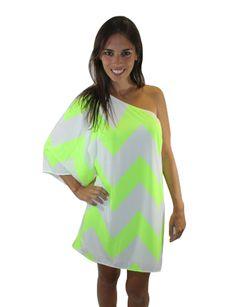 Neon Green Off the Shoulder Chevron Dress