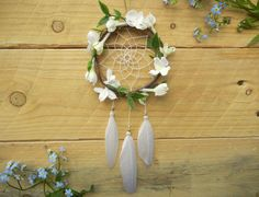 Floral White Car Dreamcatcher: White Flower by SarahDycePaintings