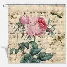 Rose Dragonfly Song Shower Curtain For