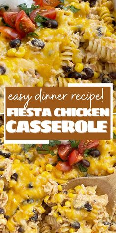 Chicken Casserole   Easy Casserole Recipes   Fiesta Chicken Casserole is filled with chunks of chicken, tender pasta, corn, black beans, all in a one dish cheesy chicken casserole. Simple to make and a great way to use up leftover chicken or a Rotisserie chicken. Dinner Dishes, Pasta Dishes, Food Dishes, Main Dishes, Fiesta Chicken, Cheesy Chicken, Chicken Casserole, Spaghetti Casserole, Mexican Food Recipes