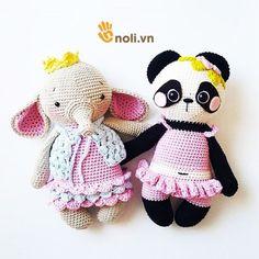Crochet Panda, Kawaii Crochet, Crochet Baby Toys, Crochet Elephant, Crochet Dolls, Crochet Hats, Crochet Bunny Pattern, Crochet Animal Patterns, Stuffed Animal Patterns