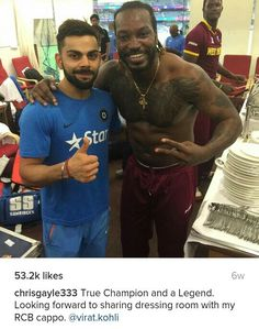 Virat kohli & chris gayle after t20 worldcup 2015 finals...
