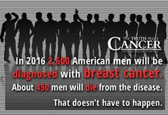 """When we think breast cancer, we tend to think of it as a women's disease but did you know that many men are also faced with this type of cancer? """"In 2016 2,600 American men will be diagnosed with breast cancer. About 450 men will die from the disease. That doesn't have to happen."""" Please re-pin to help us spread the truth & educate others. Together we are changing the world and saving lives everyday. Join us for much more great information on The Truth About Cancer! <3"""