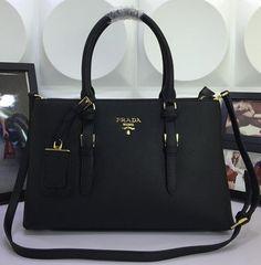 Prada Saffiano Cuir Leather Tote Bag BN3919 Black Handbags Online Shopping 834da1e3652d5