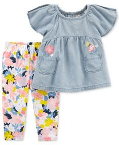 She'll be ultra cute in this girls' Carter's chambray top and floral leggings set. Baby Girls, Baby Girl Pants, Carters Baby Girl, Carters Baby Clothes, Baby Boy, Floral Leggings, Floral Pants, Tops For Leggings, Print Leggings