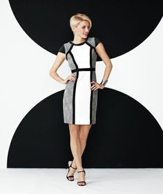 Style a black and white dress