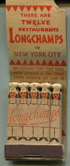 Restaurant Longchamps Feature Matchbook New York City Chefs | eBay