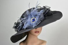 Black Kentucky Derby Hat Coctail Hat Couture Woman Hat Party Carnival Hat  Hat Party 298908a50822