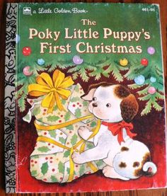 vintage childrens book... The POKY Little PUPPYs First Christmas GOLDEN Book hardcover Book .... by Inktiques