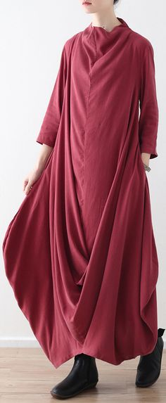 54a4bc0c6e Boutique red linen maxi dress trendy plus size asymmetric hemcotton maxi  dress vintage cotton clothing