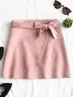Tiered Bowknot Faux Suede Mini Skirt