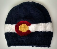 Items similar to Knit Colorado Flag Beanie in Navy Blue on Etsy Mountain Hat, Knitted Hats, Colorado, Navy Blue, Flag, Beanie, Etsy Shop, Knitting, Trending Outfits