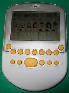 Radica Big Screen Solitaire Handheld Game White & Silver with Yellow Accents HTF #Radica #SolitareHandheld #ElectronicSolitare