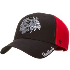 Chicago Blackhawks Womens Black and Red SEquin Logo Adjustable Hat by 47 Brand #Chicago #Blackhawks #ChicagoBlackhawks