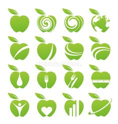 Illustration about Set of apple icons, logos, symbols and design elements. Illustration of abstract, healthy, nature - 27181946 Gfx Design, Vector Design, Logo Design, Fruit Logo, Tea Logo, Apple Icon, Powerpoint Background Design, Pink Cards, Apple Logo