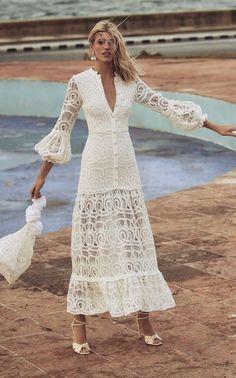 Alexis Eudora Cotton Lace Maxi Dress Size: S Click product to zoom Lace Maxi, Lace Dress, White Dress, Engagement Party Dresses, Wedding Dress, Rehearsal Dinner Dresses, Cotton Lace, White Cotton, Asymmetrical Dress