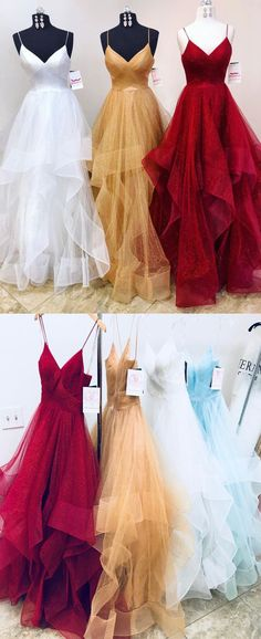 Unique 2018 spring long tulle ruffles evening dress, prom dress #prom #dress #promdress #promdresses