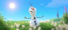 ♫ Bees'll buzz. Kids'll blow dandelion fuzz. And I'll be doing whatever snow does in summer. ♫