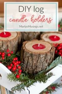 DIY Rustic Wood Candle Holders
