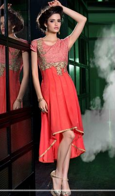 Have a ravishing look wearing this pink color georgette embroidered asymmetrical tunic. This desirable kurti is showing some amazing embroidery done with resham and sequins work. #updownkurti #anarkalikurti #embroideredkurtis
