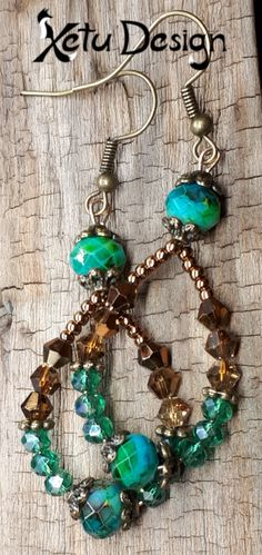 Your place to buy and sell all things handmade Etsy Jewelry, Handmade Jewelry, Crystal Jewelry, Seed Beads, Dangle Earrings, Glass Beads, Dangles, My Etsy Shop, Bronze